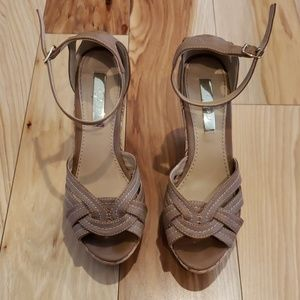 Cork bottom sandal wedges